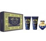 Versace Dylan Blue pour Femme parfémovaná voda pro ženy 50 ml + sprchový gel 50 ml + tělové mléko 50 ml, dárková sada