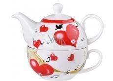 Emocio Hrnek keramika s konvičkou a šálkem srdce, set