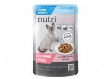 Nutrilove Dušené filetky se šťavnatým lososem v omáčce kompletní krmivo pro kastrované a sterilizované kočky kapsička 85 g