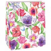 Ditipo Dárková papírová taška malá různé květy, vlčí mák, macešky 11,4 x 6,4 x 14,6 cm E