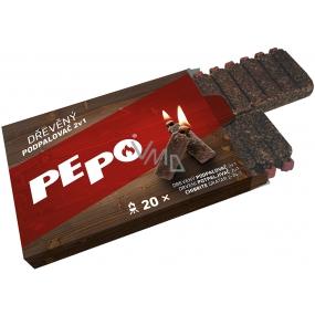 Pe-Po Podpalovač 2v1 dřevěný 20 podpalů