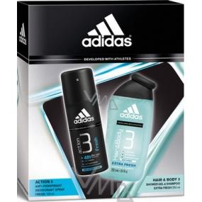 Adidas Action 3 Fresh antiperspirant deodorant sprej 150 ml + sprchový gel 250 ml, kosmetická sada