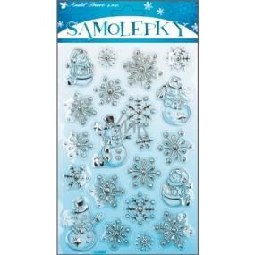 Samolepky plastické sněhuláčci stříbrno-modré 25 x 14 cm