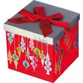 Dárková krabička s mašlí skládací vánoční červená s červenou mašlí 1373 M+ 17 x 17 x 17 cm 1 kus
