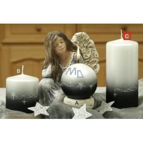 Lima Třpyt hvězdy svíčka černá válec 70 x 150 mm 1 kus