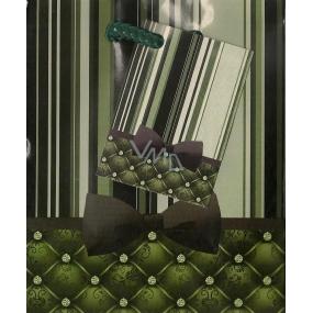 Nekupto Dárková papírová taška malá 808 50 BS Zelené provázky s mašlí 14 x 11 x 6,5 cm
