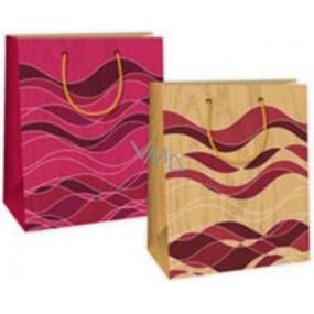 Ditipo Dárková papírová taška střední béžovo hnědo bordó vlny 18 x 10 x 22,7 cm DC