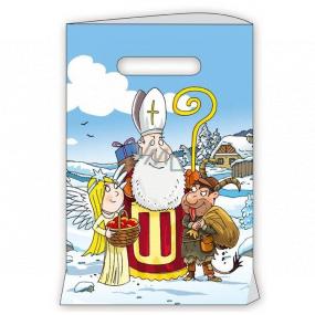 Anděl Dárková papírová taška 18 x 32 cm bílá Mikuláš, čert, anděl