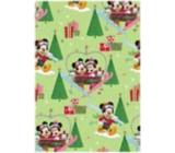 Ditipo Dárkový balicí papír 70 x 200 cm Vánoční Disney Mickey, Minnie v srdíčku světle zelený