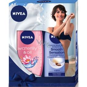 Nivea Smooth Sensation krémové tělové mléko pro suchou pokožku 250 ml + Waterlily & Oil sprchový gel 250 ml, pro ženy kosmetická sada