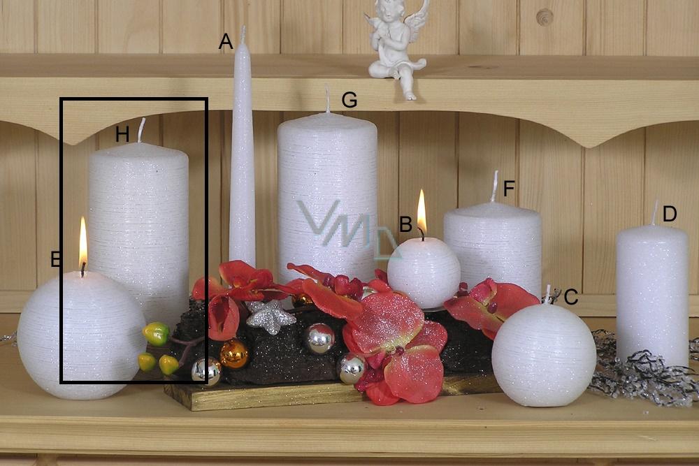 Lima Alfa Mrazivý efekt svíčka bílá válec 80 x 200 mm 1 kus