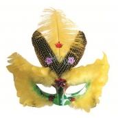 Plesová škraboška zelená se žlutým peřím 30 cm