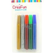 CreaFun Dekorační barvy Třpytivé na papír, textil, sklo 5 x 15 ml