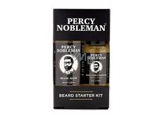 Percy Nobleman Šampón na vousy 30 ml + vyživující olejový kondicionér na vousy s vůní Percy Nobleman 10 ml kosmetická sada pro muže péče o vousy a knír