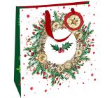Nekupto Dárková papírová taška luxusní 33 x 33 cm Vánoční věnec s cesmínou WLIL 1980