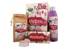 Bohemia Gifts & Cosmetics Lovebook sprchový gel 200 ml + koupelová sůl 150 g + prezervativ 1 kus + svíčka 1 kus, kosmetická sada