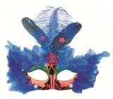 Škraboška plesová červená s modrým peřím 30 cm