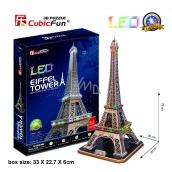 CubicFun Puzzle 3D Eiffelova věž LED svítící 82 dílků noční edice 39 x 78 x 36 cm