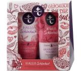 T: BY Tetesept Hallo Schönheit - Granátové jablko a magnolie sprchový gel 200 ml + tělové mléko 200 ml pro dokonalou pokožku kosmetická sada