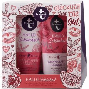 T: BY Tetesept Hallo Schönheit Granátové jablko a magnolie sprchový gel 200 ml + tělové mléko 200 ml pro dokonalou pokožku kosmetická sada