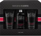 Baylis & Harding Men Černý pepř a Ženšen mycí gel na tělo a vlasy 300 ml + balzám po holení 200 ml + sprchový gel 200 ml, kosmetická sada
