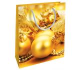 Nekupto Dárková papírová taška 23 x 18 x 10 cm Vánoční zlatá baňky WBM 1930 01