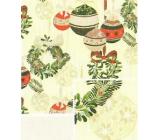 Nekupto Dárkový balicí papír 70 x 500 cm Vánoční světle žlutý zelené, zlaté, červené baňky