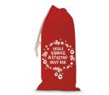 Nekupto Pytlík látkový na láhev vánoční Veselé Vánoce & Šťastný nový rok červený 150 x 300 mm