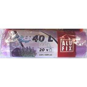 Alufix Aroma Levandule Sáčky do odpadkového koše zatahovací s ovocným aroma 40 litrů, 53 x 60 cm, 20 kusů