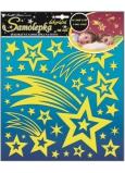 Room Decor Samolepky na zeď kometa a hvězdičky s glitry svítící ve tmě 31 x 29 cm