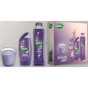 Radox Feel Relaxed sprchový gel 250 ml + pěna do koupele 500 ml + svíčka, kosmetická sada