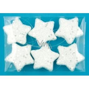 Hvězdy bílé s flitry 4cm, 6ks v krabičce