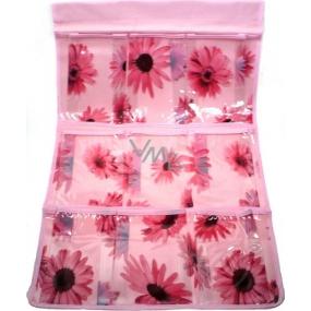 Kapsář do koupelny závěsný 705 růžový 59 x 35,5 cm 9 kapes