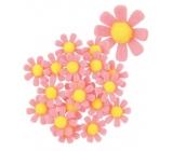 Květy z filcu s lepíkem růžové dekorace 3,5 cm v krabičce 18 kusů