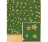 Nekupto Vánoční balicí papír Zelený, zlaté hvězdy 2 x 0,7 m BVC 2015 21