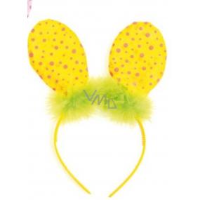 Čelenka uši s peříčkem žlutá puntík 23 cm