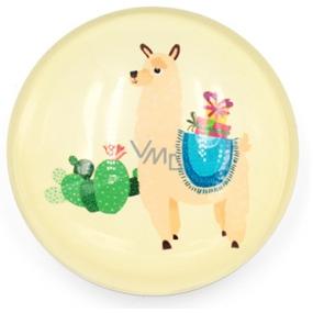 Nekupto Magnet žlutý kolečko Lama, kaktus 4 cm