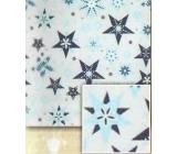 Nekupto Vánoční balicí papír Stříbrný, modré hvězdy 0,7 x 5 m