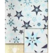 Nekupto Balící papír vánoční Stříbrný, modré hvězdy 0,7 x 5 m