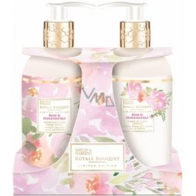 Baylis & Harding Růže a Zimolez tekuté mýdlo 300 ml + mléko na ruce 300 ml, kosmetická sada