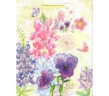 Ditipo Dárková papírová taška 18 x 23 x 10 cm žlutá barevné květy