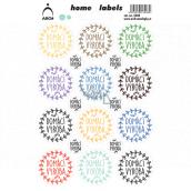 Arch Domácí etikety Home Labels samolepky Domácí výroba barevné 12 x 18 cm