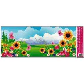 Room Decor Okenní fólie bez lepidla krajinka s růžovým motýlem 60 x 22, 5 cm 1 kus