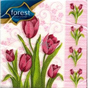 Forest Tulipány velikonoční ubrousky 33 x 33 cm 1 vrstvé 20 kusů