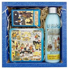 Bohemia Josef Lada sprchový gel 200 ml + ručně vyráběné mýdlo 30 g + dekorační kachlík s potiskem - 10 x 10 cm, kosmetická sada