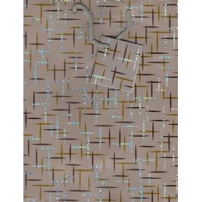 Nekupto Dárková papírová taška střední 013 70 GM šedo hnědá 23 x 18 x 10 cm