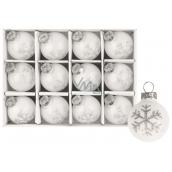 Baňky skleněné bílé s vločkou sada 3 cm, 12 kusů