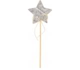 Hvězda z filcu šedá zápich 6 cm + špejle