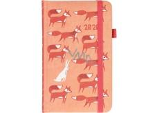 Albi Diář 2020 kapesní s gumičkou Lišky 15 x 9,5 x 1,3 cm