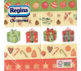 Regina Papírové ubrousky 1 vrstvé 33 x 33 cm 20 kusů Vánoční Pruhované-dárečky, baňky, hvězdičky